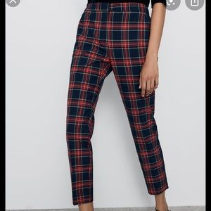 Zara Cropped Plaid Pant Elastic Waist Size Large